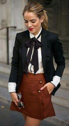 spring street style. bow blouse. mini skirt.