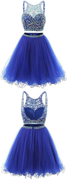 Blue Homecoming Dresses,Jewel Neck Illusion Sequins Crystal Prom Dress, Shining Two Piece Low Back Short Prom Dress, Royal Blue Mini Tulle Prom Dress Green Homecoming Dresses, Prom Dresses For Teens, Prom Dresses 2018, Backless Prom Dresses, Tulle Prom Dress, Cheap Prom Dresses, Prom Party Dresses, Trendy Dresses, Short Dresses