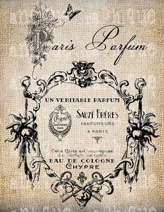 Antique French Perfume Fleur de Lis Label Keys Paris Illustration Digital Download for Papercrafts, Transfer, Pillows, etc Burlap No 2863