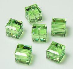 Swarovski 5601 8mm Peridot Green Crystal Cube by BestBuyDesigns