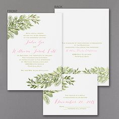 Winter Berries - Invitation  Great value, great style. Choose the colors of the winter berry design on this affordable wedding invitation. We cut the pieces apart for you.