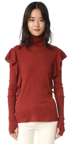 Enza Costa Cashmere Ruffle Turtleneck | SHOPBOP