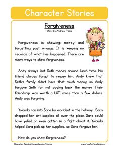 This Reading Comprehension Worksheet - Forgiveness is for teaching reading comprehension. Use this reading comprehension story to teach reading comprehension. The Effective Pictures We Offer You About Reading Comprehension Worksheets, Reading Fluency, Reading Passages, Reading Stories, English Writing Skills, English Reading, English Lessons, Teaching Character, Character Education