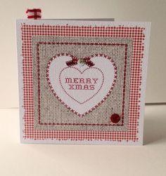 Christmas Cards Pack of Five,'Xmas Gingham'Handmade Xmas Cards £4.00