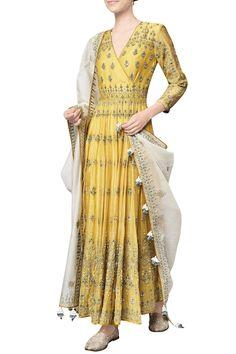 Shop Anita Dongre - Yellow chanderi mull embroidered saranya anarkali with churidar & dupatta Latest Collection Available at Aza Fashions