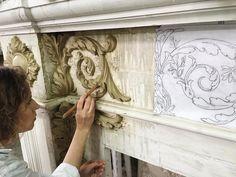 Decorative plaster at work ! by Renaissance Ornamental ; Decorative Plaster, Plaster Art, Plaster Walls, Wall Sculptures, Sculpture Art, Plaster Of Paris, Tadelakt, Grisaille, Motif Floral
