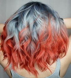 "Coral ends with dark blue roots and silver in the middle - Also known as ""beautifully impossible to maintain"""