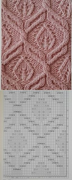 Leafs with cable knits in symmetry around. Knitting pattern with a diagram explaining how to knit.