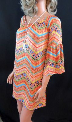 COWGIRL Gypsy  Boho Funky Chevron Aztec Native Shift  Dress Tunic Bell Sleeve M our prices are WAY BELOW RETAIL! all JEWELRY SHIPS FREE! www.baharanchwesternwear.com baha ranch western wear ebay seller id soloedition