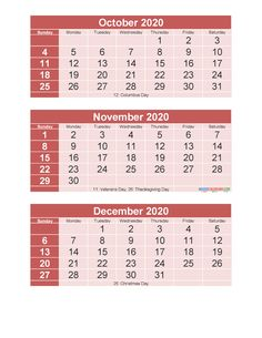 Free Printable 3 Month Calendar 2020 October November December | Free Printable 2020 Calendar Templates 3 Month Calendar, Printable Calendar 2020, December Calendar, Photo Calendar, November, Calendar Templates, Computer Theme, Try To Remember, Make Photo