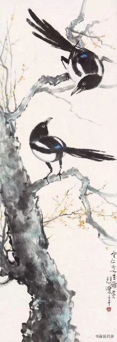 Chinese magpies, the messengers of good news in Chinese culture, ink painting by Xu Beihong (1895 - 1953)