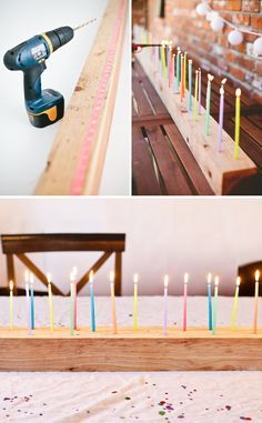A festive DIY Candelabra for you next birthday bash! - - This diy candelabra is perfect for any birthday bash! This would be perfect for a diy sweet 16 candelabra to celebrate the big day! Festa Party, Diy Party, Diy Fest, Birthday Table Decorations, Birthday Candles, Valentine Decorations, Ideias Diy, Candle Centerpieces, Centerpiece Wedding