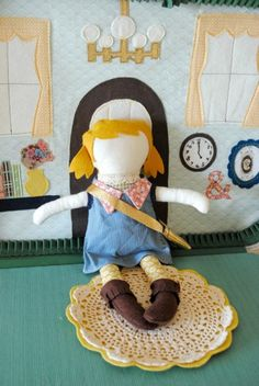 Doll Suitcase - Old suitcase with house scene and change of clothes with doll all DIY! Super cute idea