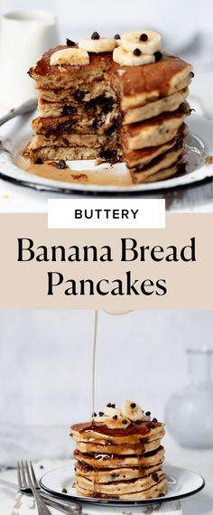 Banana Bread Pancakes - Broma Bakery Banana Pancakes, Pancakes And Waffles, Banana Bread, Cinnamon Bun Recipe, Broma Bakery, Eat Breakfast, Breakfast Recipes, Mini Cakes, Sweet Recipes