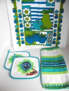 Vintage 1970s Kitchen Set Towel, Dish Cloth and 2 Pot Holders Blue, Lime Green and Brown via Etsy