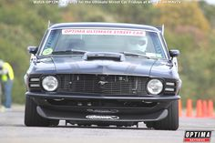 Dave Tucci hard on the brakes on his 1970 Ford Mustang at #DriveUSCA Pittsburgh in the #Wilwood Speed/Stop Challenge