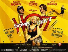 """""""Some Like It Hot"""" - Marilyn Monroe, Tony Curtis and Jack Lemmon. British Quad Re-release Poster, 2000."""