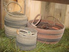 Rope baskets - fun to make Cowboy Crafts, Western Crafts, Farm Crafts, Rope Crafts, Western Decor, Crafts To Do, Diy Crafts, Rope Decor, Rope Art