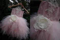 ZORA Powder Pink Tulle Ecru Lace Tulle Flower Girl Dress