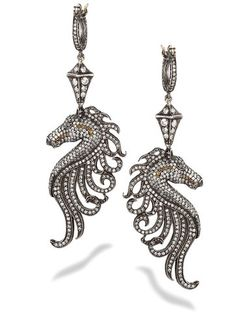 The Turkish jeweler Sevan Bicakci was motivated by both myth and hard reality when making this one-of-a-kind pair of sterling, 24-karat gold and diamond earrings.