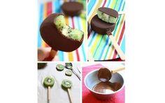 Kiwi já é bom por si só, com chocolate, então... Servir a fruto em palitinhos de madeira é uma ótima ideia para festinhas infantis. Foto: Pinterest/ maria Eugenia Gonzales