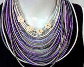 Spiral Strand Necklace - Cotton Yarns Wrapped - Acrylic Yarns- Beaded - Street Hippie Fashion - Stylish Handmade Necklace