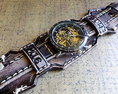 Leather Watch Cuff, Men's watch, Leather Wrist Watch , Bracelet Watch, Mens Gift, Aged Black, Mechanical Steampunk