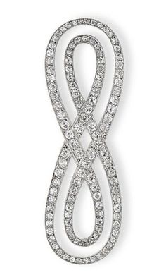 DIAMOND BROOCH, BY CARTIER Shaped eternity knot, set with round diamonds old size, frames platinum and white gold Signed Cartier Paris London, no. 2288