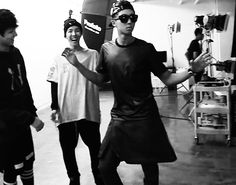 "Rap Monster dance. J-Hopie-oppa is cracking up, but Kookie is like ""not this again, just pretend its funny..."""