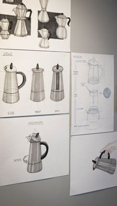 Marianna Małkus (School of Form), coffee pot sketches Observational Drawing, Industrial Design Sketch, Moka, School Design, Design Process, Kettle, Art Sketches, Markers, Design Inspiration