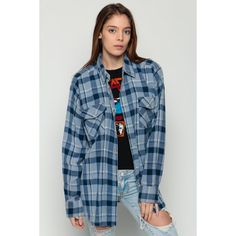 90s Plaid Shirt Oversized Flannel Shirt Grunge Button Up Navy Blue... (54 BAM) ❤ liked on Polyvore featuring tops, plaid button down shirt, long-sleeve shirt, flannel shirts, button-down shirt and blue button up shirt
