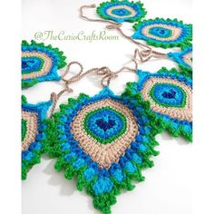 "Crochet PATTERN Peacock Feather ""Nemali"" Motif, Coaster and Garland - Photo Tutorial - INTERMEDIATE level- Original Design This is a listing for a PDF photo tutorial pattern in ENGLISH with clear written instructions and not for the finished i. Crochet Motifs, Crochet Blanket Patterns, Crochet Stitches, Knitting Patterns, Crochet Bunting Free Pattern, Crochet Feathers Free Pattern, Irish Crochet Charts, Crochet Mandala, Knitting Ideas"