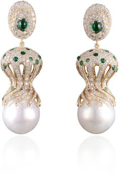 Farah Khan Fine Jewelry Baroque Pearl And Diamond Earrings - Inspired by sea creatures, these 18K yellow gold earrings by Farah Khan