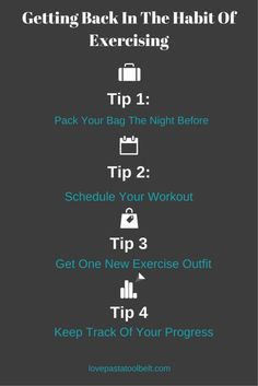 Tips For Getting Back In The Habit Of Exercising- Love, Pasta and a Tool Belt | exercise | working out | work out | exercise tips |