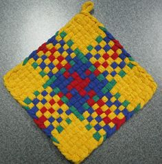 Crayon Bright Woven Potholder by DoorsiDell on Etsy
