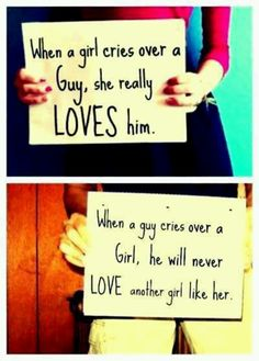 Most guys will not admit to crying over a woman, but real men who love the woman in his life will shed tears of joy, sadness, and pain of a broken heart. That is a man who IS a man, who loves and is loved, and only wants his one and only lover forever. So true! :)