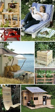 Upcycled Shipping Pallet Projects for Outdoors- love that lounge chair!!!!!