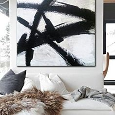 """Price from: $144  Large Original Abstract Painting On Canvas, Black and White  TG069 Square painting Size from: 22"""" x 22""""   handmade Acrylic from Studio Trend Gallery#abstractpainting #largecanvasart #largeabstractart #originalartwork #originalart #abstractcanvas #texturepainting #homedecorart  #roomdecor #roomdesign #livingroomdecor #wallart #wallartdecor #wallartprint Large Canvas Art, Large Wall Art, Abstract Canvas, Wall Art Decor, Wall Art Prints, Black White Art, Texture Painting, Art World, Original Artwork"""