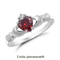 @Dena Pullen Powers Claddagh Ring@ SIZE 7  Lady's Red Garnet  10KT White Gold Filled  -Free Shipping
