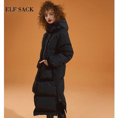 226734cda8d8e ELF SACK New Woman Down Coat 90% White Duck Down Full Zipper Femme Thick  Jackets