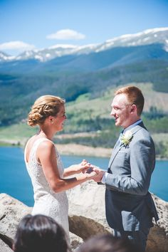 Summer Wedding Ceremony at Sapphire Point - one of the most beautiful overlooks in Summit County, Colorado | A Colorado Wedding