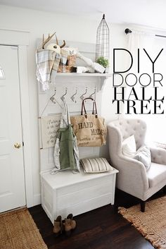 DIY Door Hall Tree - Made from an old door!   {This would look really cute in our upstairs hall to hide extra linens!
