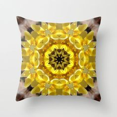 Yellow crocus mandala throw pillow cover, kaleidoscope, all occasion gift, spring flower, home decor, living room decor, bedroom decor by RVJamesDesigns on Etsy