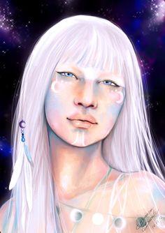Jaci (Îacy), the moon goddess from the brazilian native's culture, the tupi-guarani. Sacred Feminine, Divine Feminine, Animation 3d, World Of Darkness, Moon Goddess, Love Drawings, Gods And Goddesses, Amazon Art, Fantastic Beasts