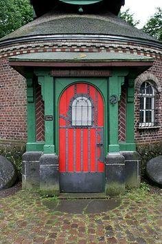 Red door in Germany Entrance Ways, Entrance Doors, Doorway, Grand Entrance, Cool Doors, Unique Doors, Porches, Doors Galore, When One Door Closes