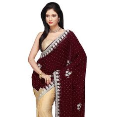 Maroon and Beige Velvet and Crepe Jacquard Saree with Blouse