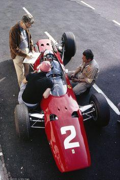 ---- 1965 - Dutch GP - John Surtees, Ferrari with engineer Mauro Forghieri ---- Ferrari Scuderia, Ferrari F1, Audi, Porsche, Formula 1, Subaru, Michael Fisher, Automobile, Toyota
