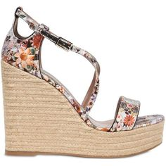 Tabitha Simmons Women 130mm Floral Printed Silk Satin Wedges (£230) ❤ liked on Polyvore featuring shoes, sandals, multi, floral shoes, wedges shoes, wedge sandals, floral sandals and high heel shoes