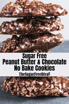No Bake Sugar Free Chocolate Cookies - I am pretty excited about this recipe for No Bake Sugar Free Chocolate Cookies. That could be becau - Sugar Free Deserts, Sugar Free Treats, Sugar Free Cookies, Sugar Free Recipes, Sugar Free Foods, Sugar Free Oatmeal Cookie Recipe, No Bake Cookie Recipe, Sugar Free No Bake Desserts, No Bake Recipes