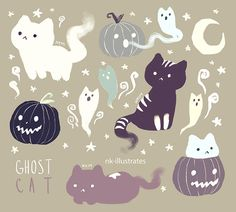 "Draw Cats nk-illustrates: ""Night Star Cat, Cat-O-Lanterns, and Ghost Cats. get some yourself some pawtastic adorable cat apparel! Comic Anime, Anime Art, Arte Do Kawaii, Kawaii Shop, Ghost Cat, Cute Ghost, Drawn Art, Illustration Art, Illustrations"